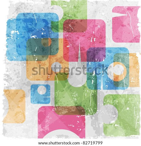 Colorful grunge retro background - stock vector