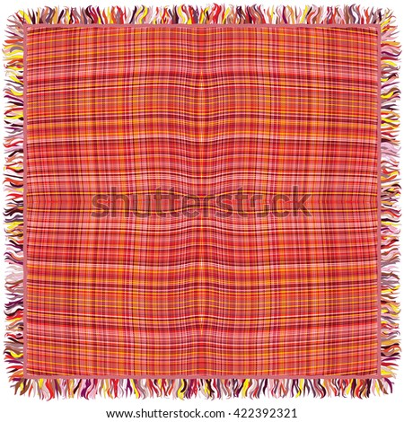 Colorful grunge striped and checkered weave tablecloth with fringe isolated on white