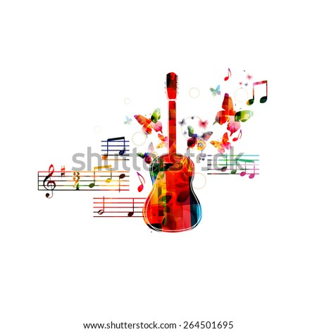 Colorful guitar design with butterflies - stock vector