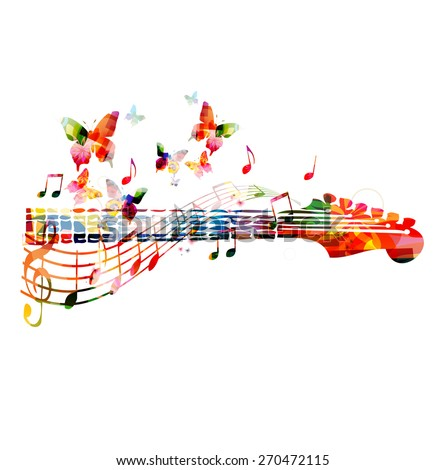 Colorful guitar fingerboard - stock vector