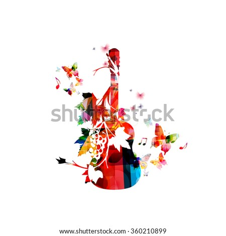 Colorful guitar with vines - stock vector