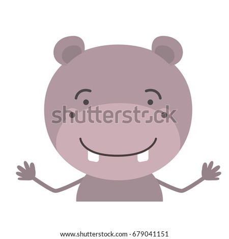 colorful half body caricature of cute hippopotamus happiness expression vector illustration