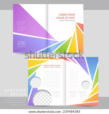 colorful half-fold brochure template design with spiral triangle elements - stock vector