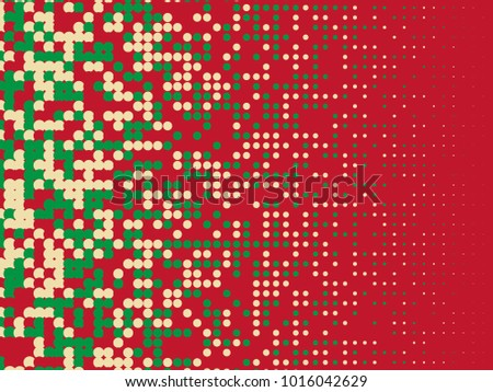 Colorful halftone dots. Red, green, white geometric gradient for pop art designs. Geometric vintage monochrome fade wallpaper. Pop art print. Dotted geometric retro pattern. Comic halftone background.