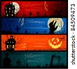 Colorful Halloween banners - stock vector