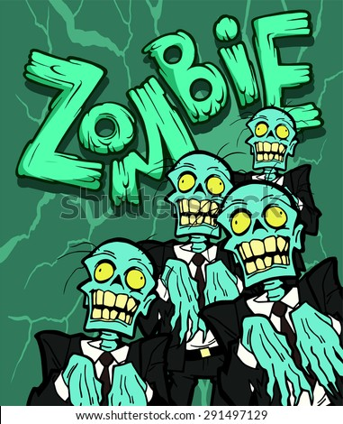 Colorful halloween illustration with the creepy cartoon walking zombie character