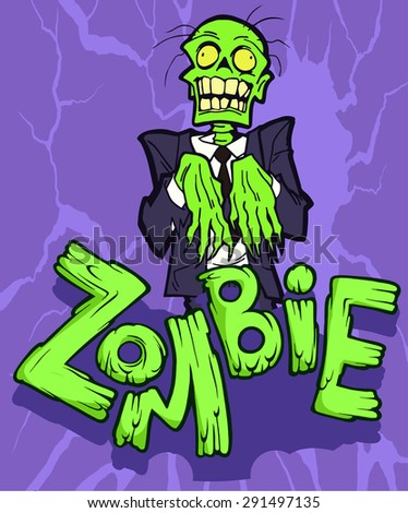Colorful halloween illustration with the creepy funny cartoon walking zombie character and a cartoon zombie word