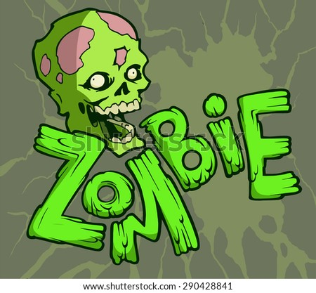 Colorful halloween illustration with the scary and funny walking zombie head