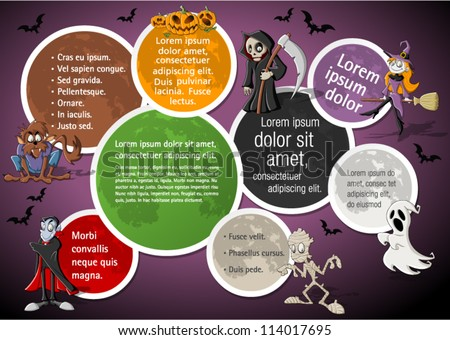 Colorful halloween template for advertising brochure with funny cartoon classic monster characters - stock vector