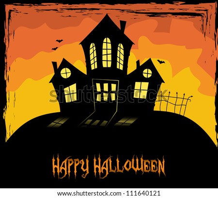 Colorful Halloween them with a scary house, vector, EPS 10 - stock vector