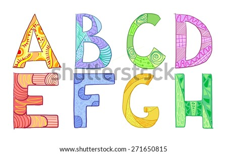 Colorful hand drawn alphabet for kids. Vector letters set A-H - stock vector
