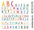 Colorful hand drawn alphabet, numbers and symbols Colorful alphabet with capital and small letters, numbers and signs. - stock vector