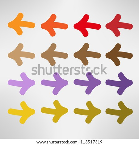 Colorful hand drawn arrows - stock vector