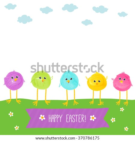 Colorful hand drawn chicks. Watercolor funny baby chickens. Watercolor/acrylic kids Easter art. Children Easter crafts. Vector eps 10 illustration on white background. Baby shower / Easter card design - stock vector