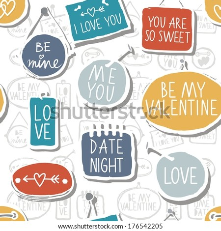 Colorful hand drawn different shaped label set isolated on white background with love messages love romantic wedding valentines day seamless pattern - stock vector