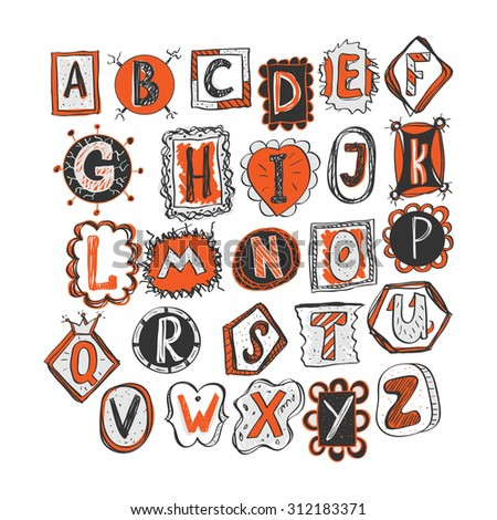 colorful hand drawn doodle alphabet. childish style vector illustration - stock vector