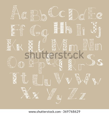 colorful hand drawn doodle alphabet. letters of latin alphabet - stock vector