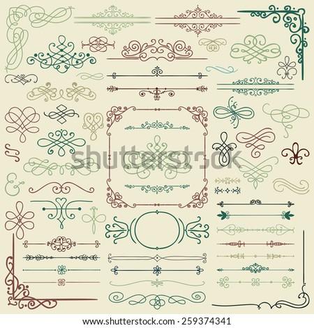 Colorful Hand Drawn Doodle Design Elements. Frames, Borders, Swirls. Vector Illustration - stock vector