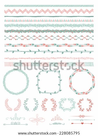 Colorful Hand-Drawn Doodle Seamless Borders and Design Elements. Decorative Flourish Frames, Brackets. Vector Illustration. Pattern Brushes - stock vector
