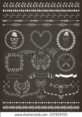 Colorful Hand-Drawn Doodle Seamless Borders and Design Elements. Decorative Flourish Frames, Wreaths, Laurels. Valentine's Day. Wedding.Chalk Drawing. Vector Illustration. - stock vector