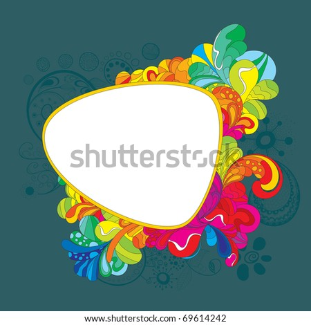 Colorful hand drawn frame for your message - stock vector