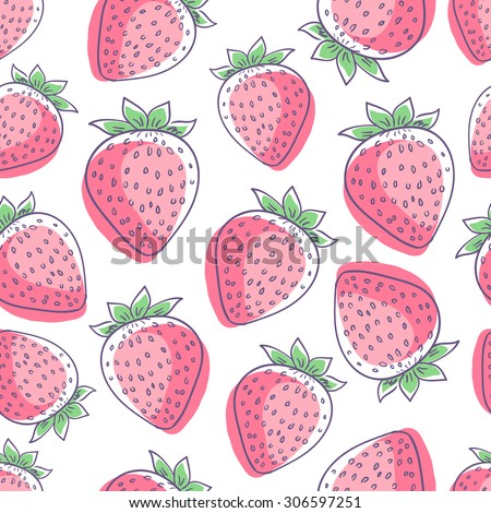 Colorful hand drawn isolated strawberry seamless pattern on white background. Sketched abstract vector food illustration. Design artistic doodle element for card, print, template, wallpaper, texture - stock vector