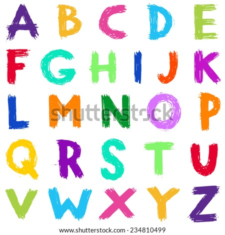 Colorful hand drawn scribble alphabet - stock vector
