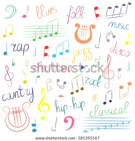 Colorful Hand Drawn Set Music Symbols Stock Photo Photo Vector