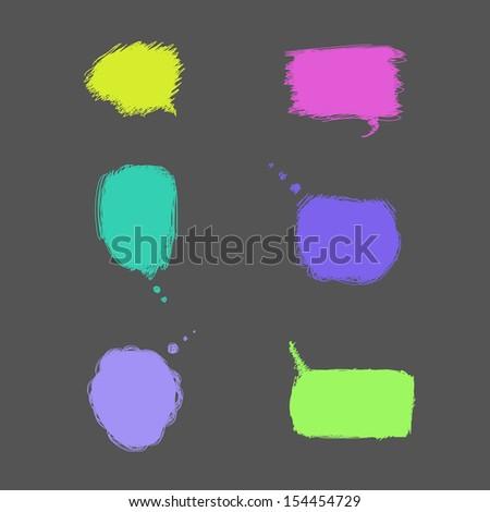 Colorful hand-drawn speech bubbles. Vector illustration - stock vector