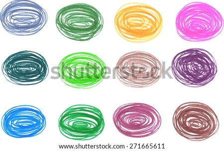 Colorful hand drawn textures. Freehand drawing elements.  Pencil sketch drawing technique. Vector illustration. - stock vector