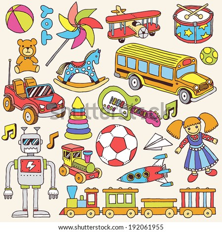 Colorful hand drawn toys set. Vector illustration.