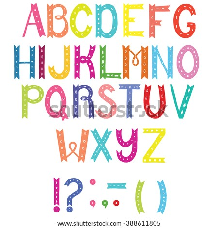 Colorful hand drawn unique alphabet. Letters A to Z plus punctuation marks. decorative font for postcard, placard, advertising, poster, book cover, title, apparel design.  - stock vector
