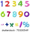 Colorful hand drawn vector numbers - stock vector