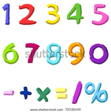 Colorful hand drawn vector numbers