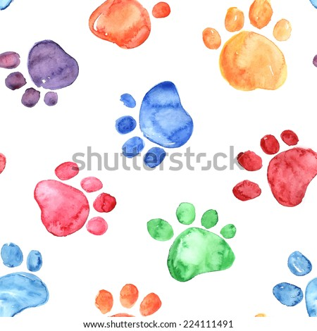 Colorful hand drawn watercolor illustration with animal footprints - stock vector