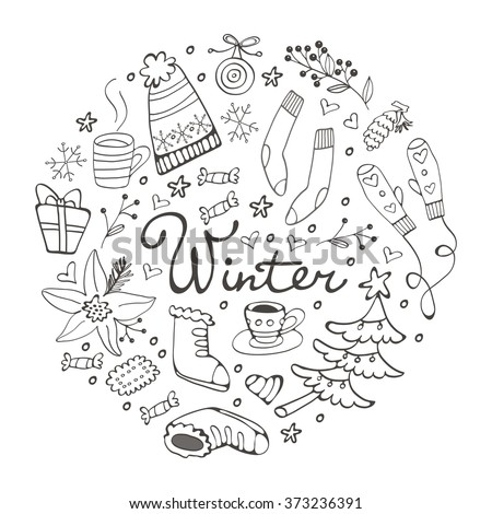 Colorful hand drawn winter collection in round composition - stock vector