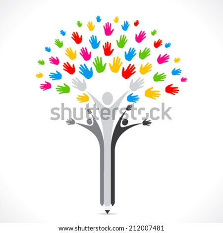 colorful hand pencil tree support or united concept vector - stock vector