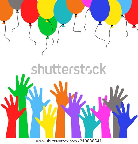 Colorful hand people with multicolored balloons, crowd - Holiday birthday vector background - stock vector