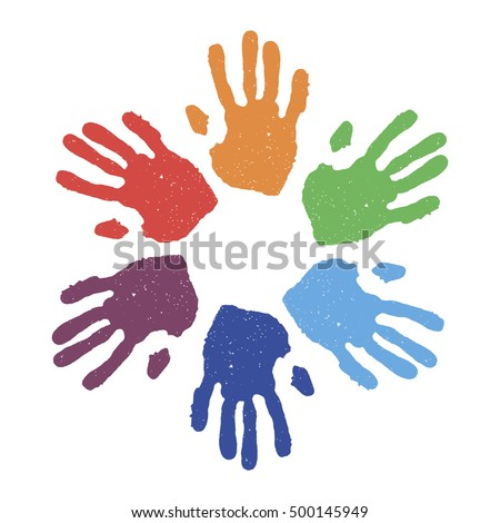 colorful hand prints kids hand prints preschool primary school design element vector - Prints For Kids