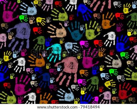 Colorful hand prints on black texture background, vector illustration - stock vector