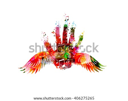 Colorful hand with wings - stock vector