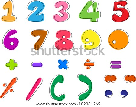 Colorful hand written number letters from 0 to 9, vector