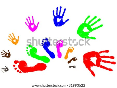 colorful hands and legs prints vector illustration