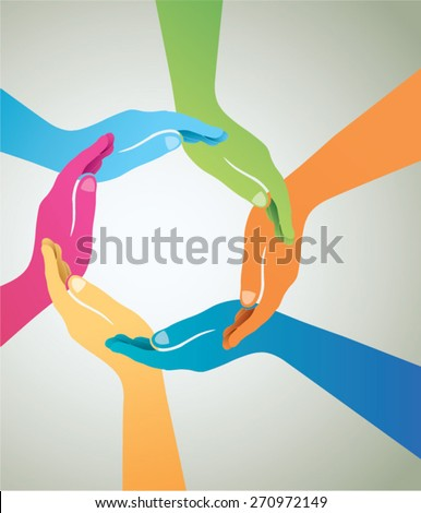 Colorful hands forming circle together - stock vector