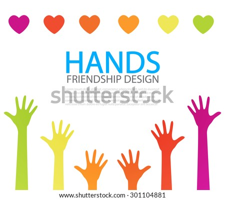 Colorful hands logo design. Vector illustration - stock vector