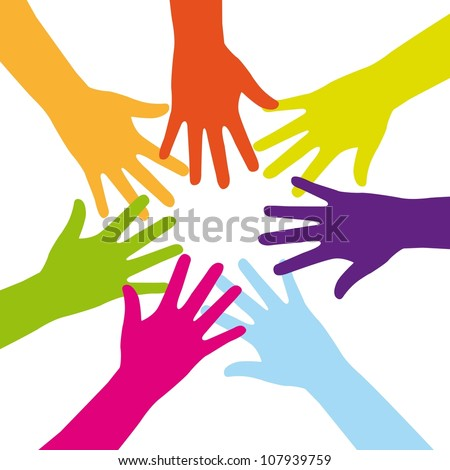 colorful hands over white background. vector illustration - stock vector
