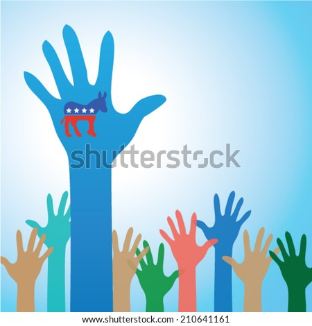 Colorful Hands US, American Politics -  Democratic party symbol  - stock vector