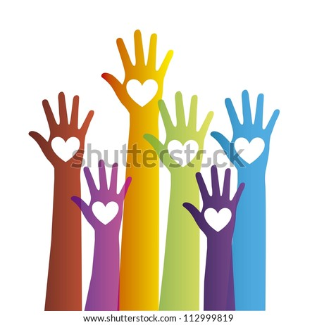 colorful hands with hearts over white background. vector illustration - stock vector