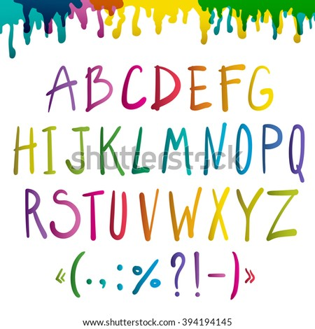 Colorful handwritten alphabet on white background. Effect of drip watercolors in vector.