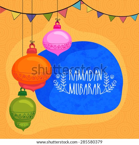 Colorful hanging lanterns with bunting decoration on seamless yellow background for Islamic holy month of prayers, Ramadan Mubarak celebration. - stock vector